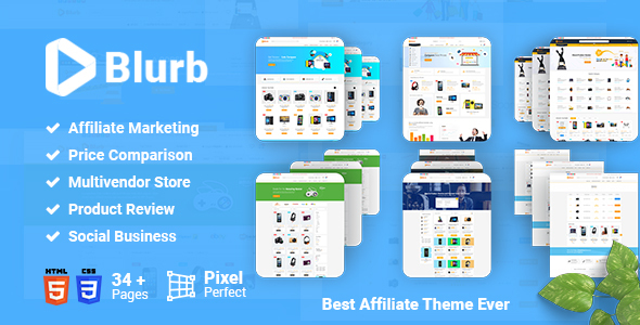 ThemeForest Blurb Price Comparison Affiliate Website Multivendor Store and Product Review HTML5 Template 20880845
