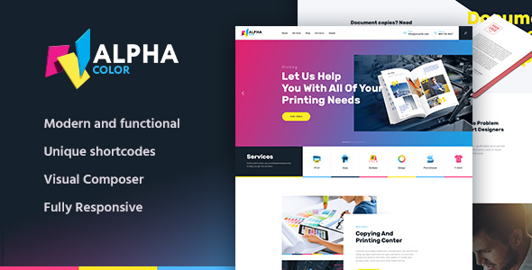 AlphaColor | Type Design & Printing Services WordPress Theme - Retail WordPress