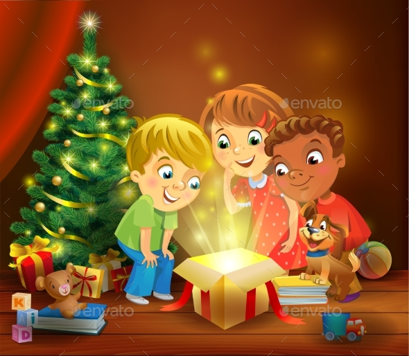 GraphicRiver Christmas Miracle Kids Opening a Magic Gift 20987931