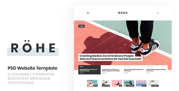 ThemeForest Rohe PSD Template for Typographic Blog 20987966