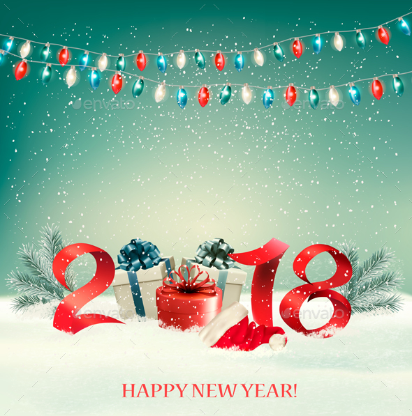 New Year Background with Gift Boxes and Colorful Garland - Christmas Seasons/Holidays