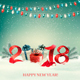 New Year Background with Gift Boxes and Colorful Garland