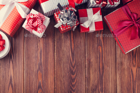 Gift boxes on wooden table - Stock Photo - Images