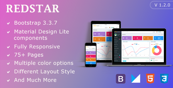 RedStar Hospital - Bootstrap Admin Template with Material Design Components