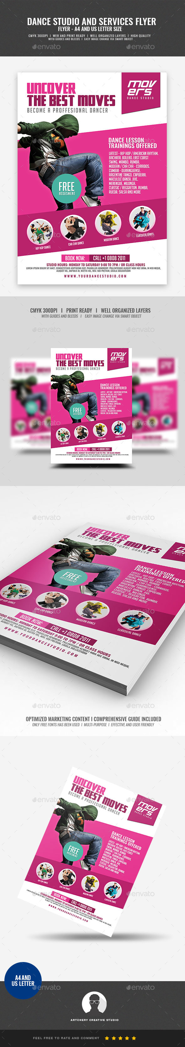 GraphicRiver Dance Lesson Studio Flyer 20988152