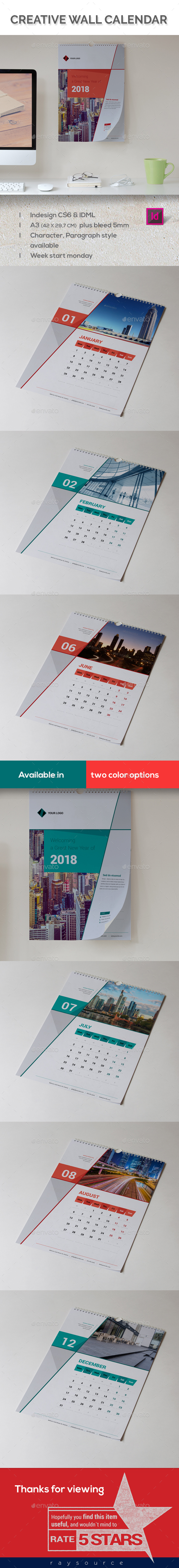 GraphicRiver Corporate Wall Calender 2018 20988287