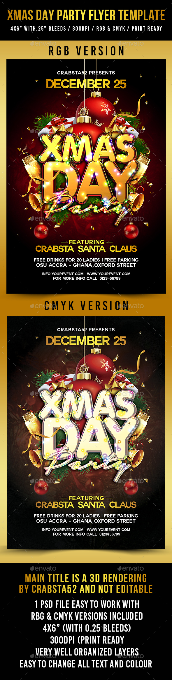 Xmas Day Party Flyer Template - Holidays Events