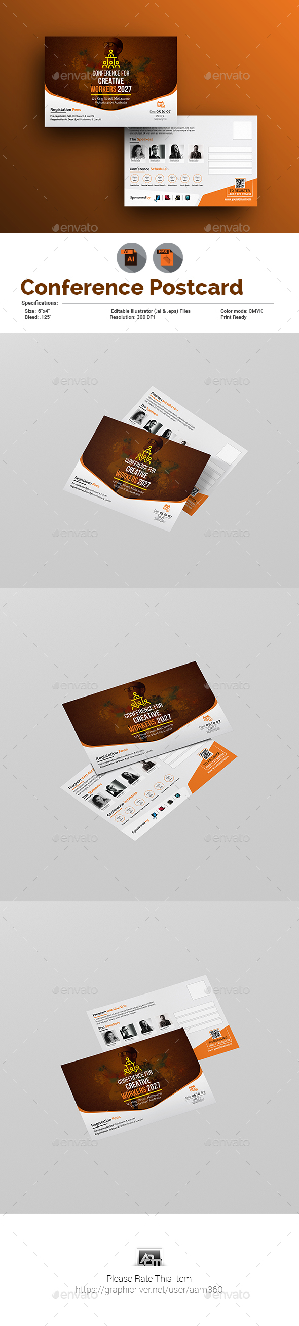 ConferenceEvent Postcard Template By Aam GraphicRiver - Event postcard template