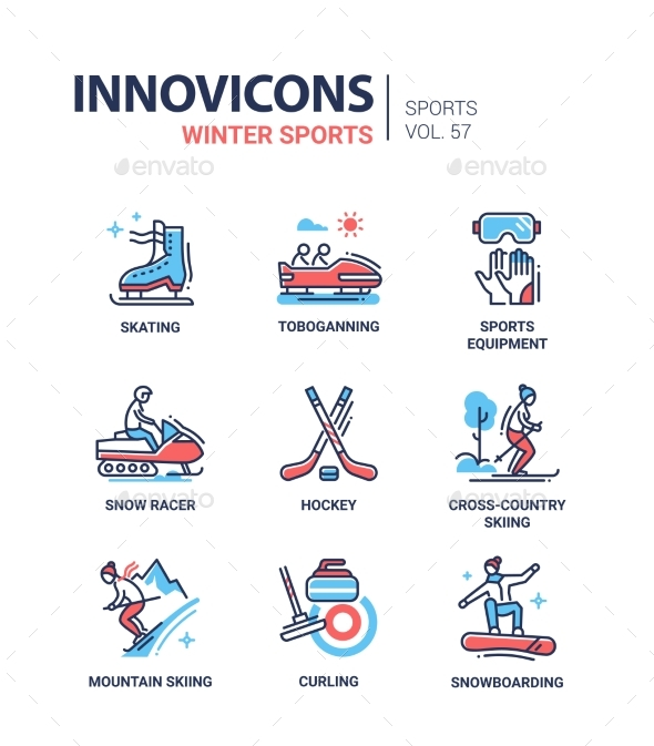 GraphicRiver Winter Sports Line Design Icons Set 20988530