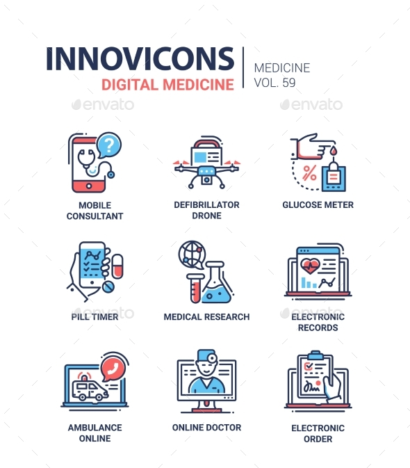 Digital Medicine - Line Design Icons Set - Health/Medicine Conceptual