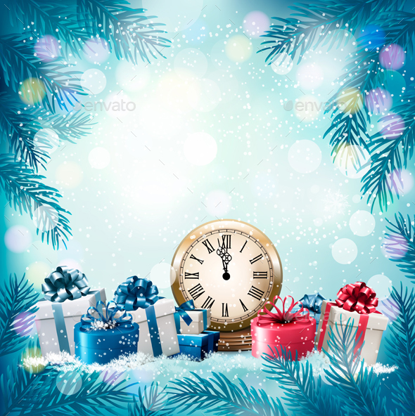 GraphicRiver Christmas Holiday Background and Presents 20988536
