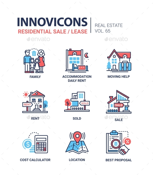 Residential Sale and Lease - Line Design Icons Set