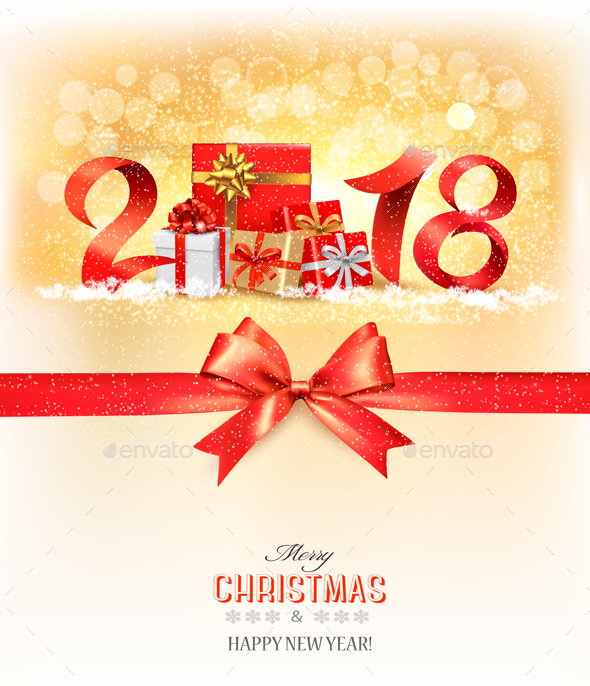 New Year Background with Gift Boxes - Christmas Seasons/Holidays