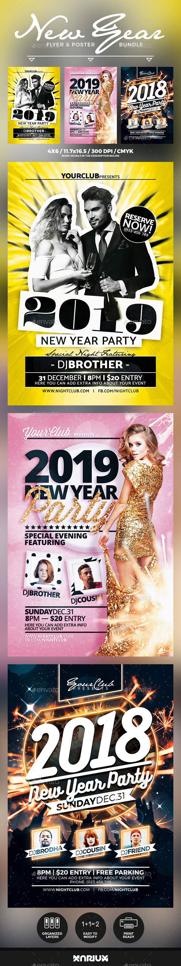 GraphicRiver New Year Flyer & Poster Bundle 20988624