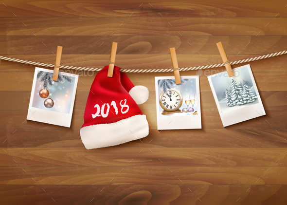 GraphicRiver Holiday Christmas Background with Photos and Santa Hat 20988732