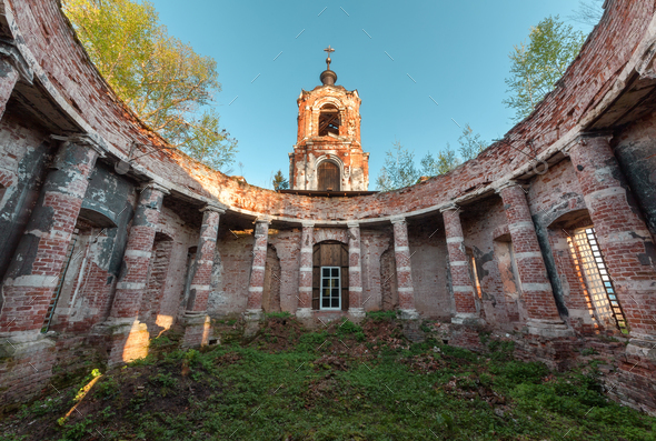Ruins rotunda of an abandoned brick orthodox church - Stock Photo - Images