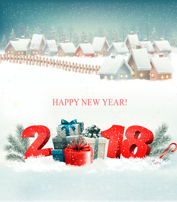 GraphicRiver Christmas Holiday Background with Landscape and Village 20988848