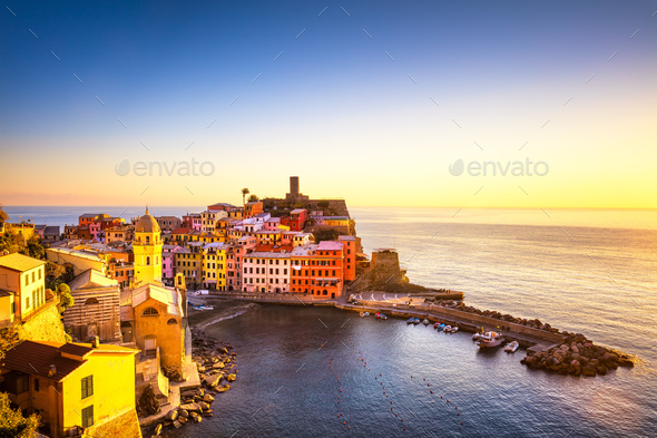Vernazza village, panoramic view on sunset. Cinque Terre, Ligury - Stock Photo - Images