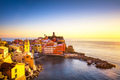 Vernazza village, panoramic view on sunset. Cinque Terre, Ligury