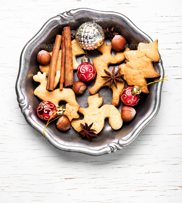 Christmas cookies and baubles - Stock Photo - Images