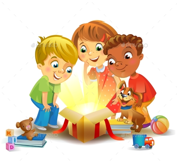 GraphicRiver Christmas Miracle Kids Opening a Magic Gift 20989115