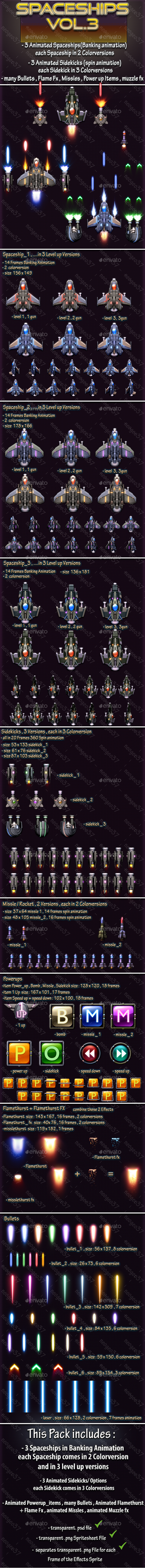 Spaceships Vol.3 - Sprites Game Assets