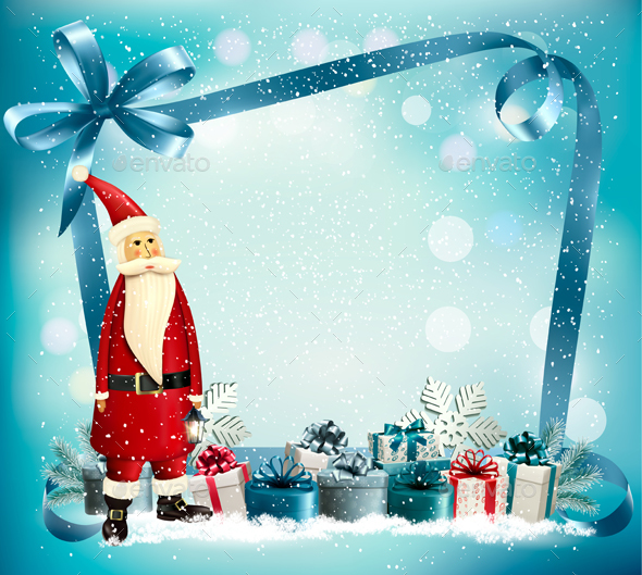 GraphicRiver Christmas Holiday Background With Presents And Santa Claus 20989247