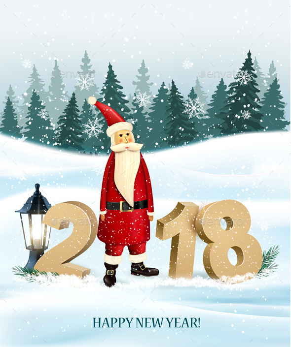 Christmas Holiday Background With Landscape And Santa Claus - New Year Seasons/Holidays