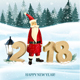 Christmas Holiday Background With Landscape And Santa Claus