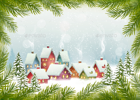 GraphicRiver Winter Village Christmas Holiday Background 20989257