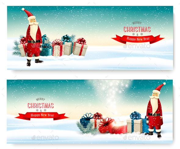 Christmas Holiday Banners With Presents And Santa Claus - Christmas Seasons/Holidays