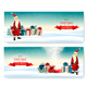 Christmas Holiday Banners With Presents And Santa Claus