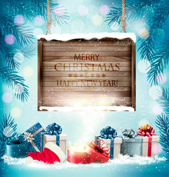 Christmas Holiday Background And Presents - Christmas Seasons/Holidays