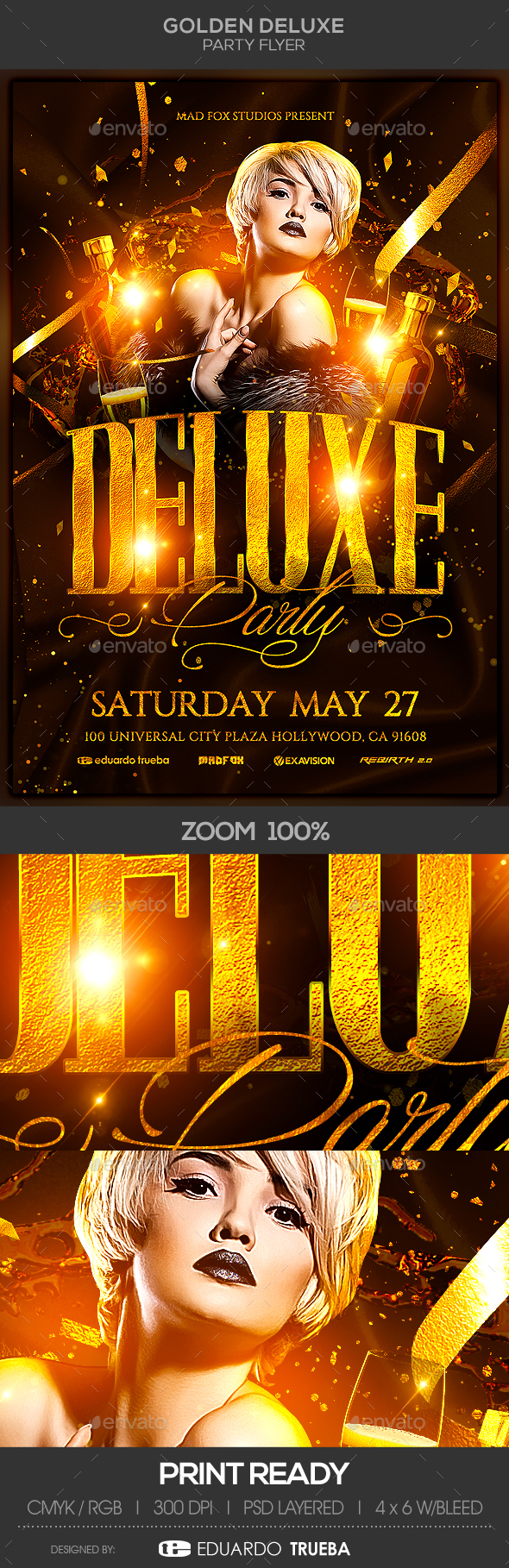 Golden Deluxe Party Flyer - Clubs & Parties Events