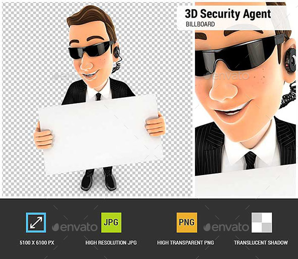 GraphicRiver 3D Security Agent Holding a Billboard 20989601