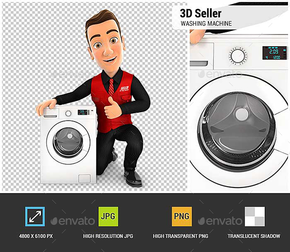 GraphicRiver 3D Seller with Washing Machine and Thumb Up 20989602