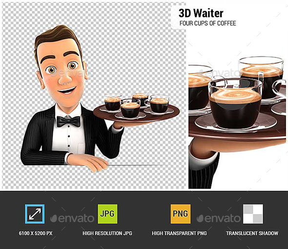 GraphicRiver 3D Waiter Holding Four Cups of Coffee 20989606