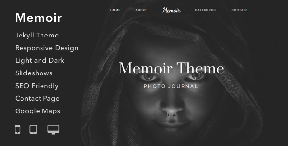 ThemeForest Memoir Responsive Jekyll Theme for Bloggers Writers and Photographers 20989621