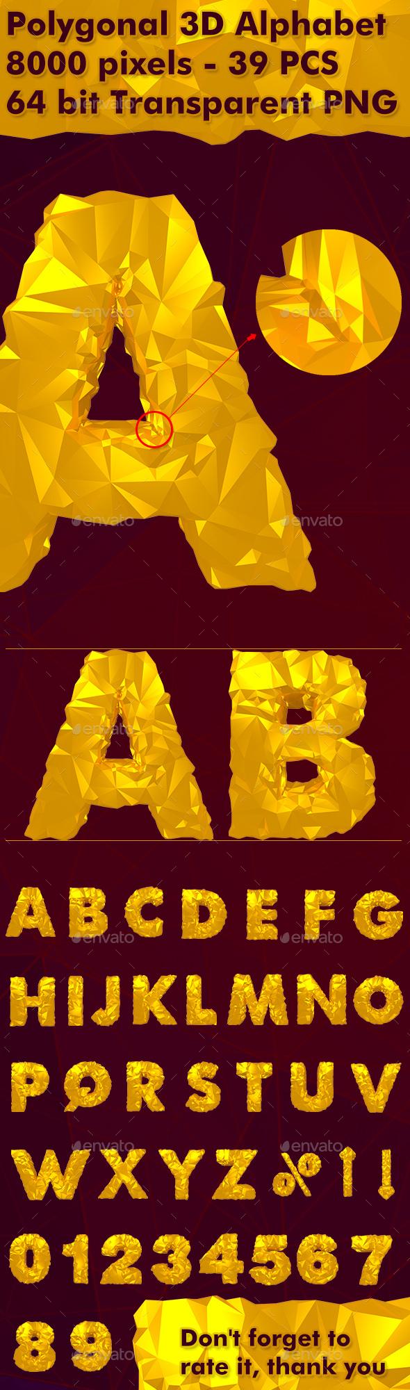 3D Polygonal Alphabet ( 39 PCS ) - Text 3D Renders