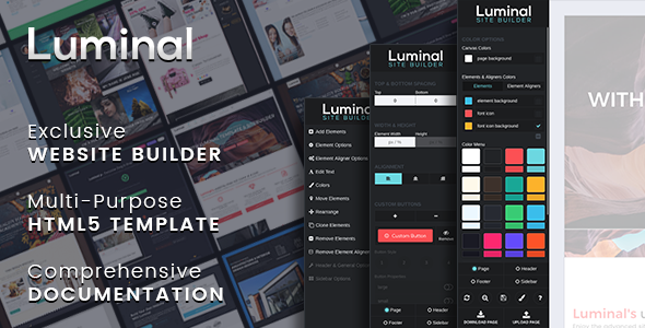 ThemeForest Luminal Multi-Purpose HTML5 Template Website Builder included 20989883