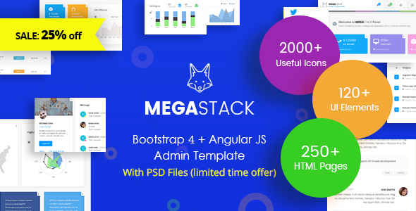 Download MegaStack - Bootstrap 4 & Angular JS Admin Dashboard Template and UI Framework