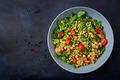 Dietary menu. Healthy vegan salad of fresh vegetables