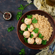 Baked meatballs of chicken fillet with garnished with quinoa. - PhotoDune Item for Sale