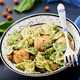 Farfalle pasta with meatballs and spinach  sauce with fried chickpeas - PhotoDune Item for Sale