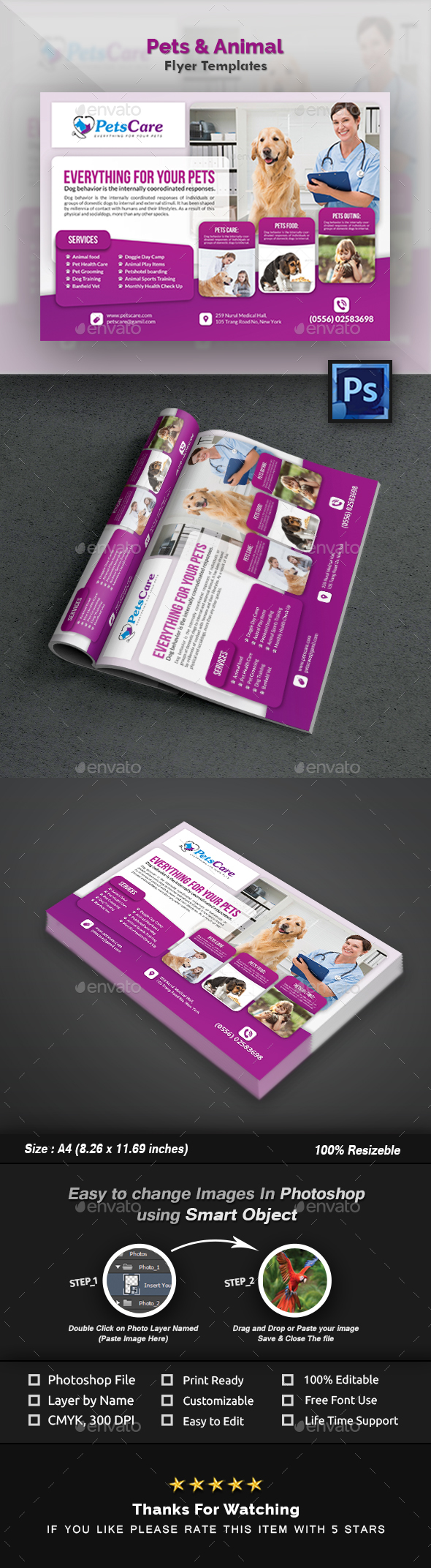 GraphicRiver Pets Care Flyer Template 20989975