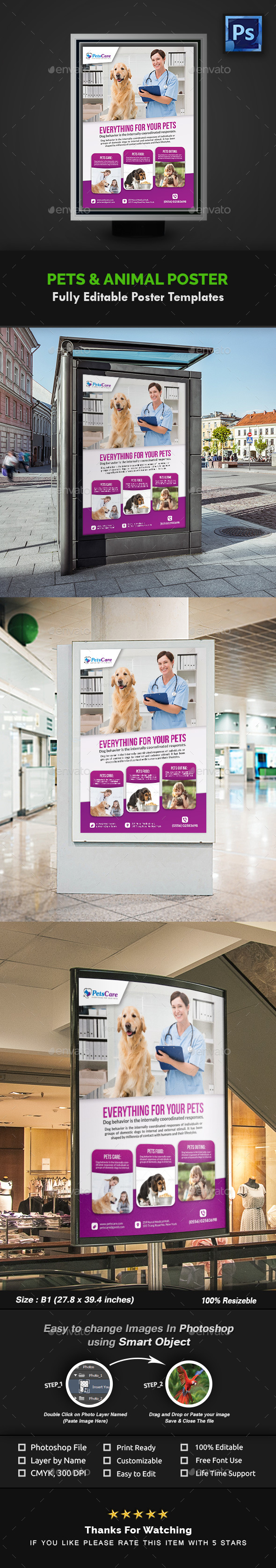 Pet Care Poster Template - Signage Print Templates