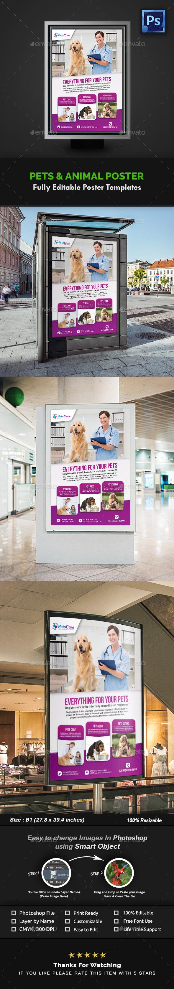 GraphicRiver Pet Care Poster Template 20989980