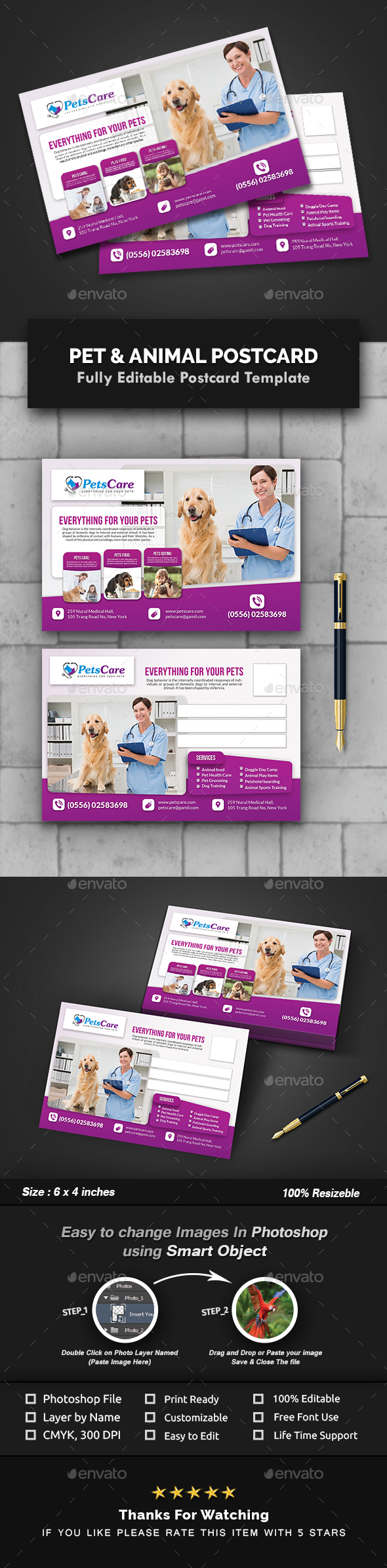 GraphicRiver Pet Care Postcard Templates 20989986