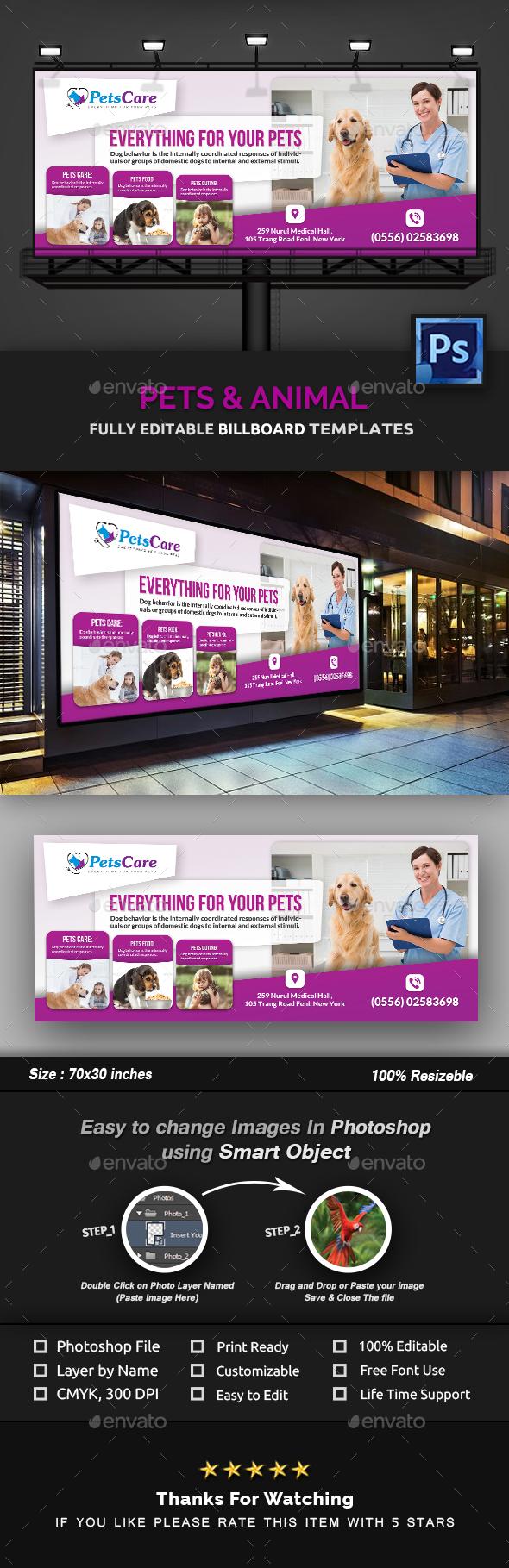 Pet Care Billboard Template - Signage Print Templates