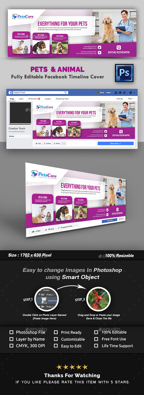 GraphicRiver Pet Care Facebook Timeline Cover Template 20989996